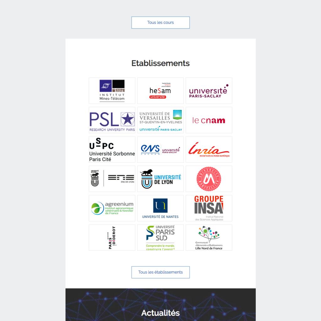 Liste des MOOCs disponibles !